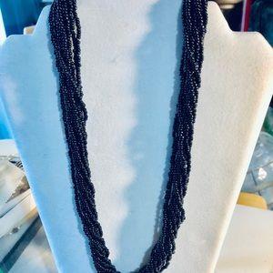 Trifari Black Seedbead Multistrand Necklace |